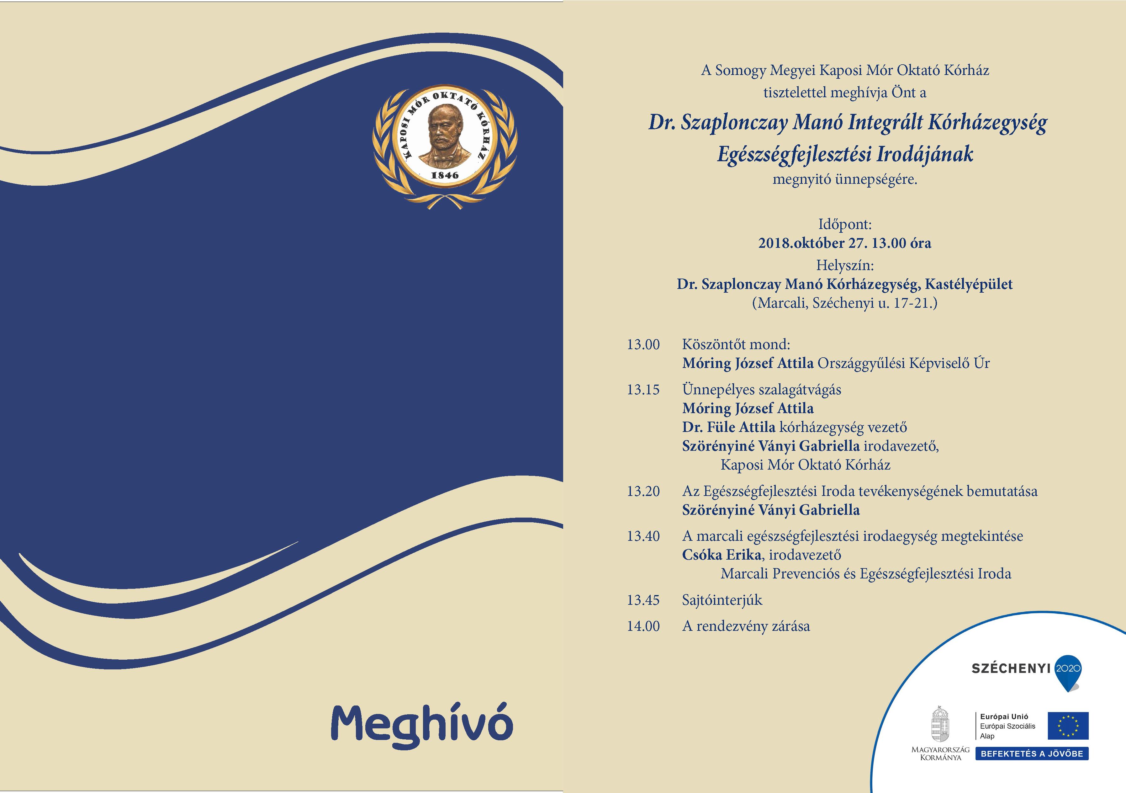 MEGHÍVÓ a Dr. Szaplonczay Manó Integrált Kórházegység Egészségfejlesztési Irodájának megnyitó ünnepségére